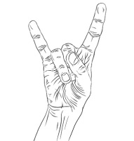 Rock on hand sign, rock n roll, hard rock, heavy metal, music, detailed black and white lines vector illustration, hand drawn.
